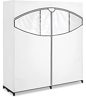 Whitmor Extra Wide Clothes Closet   Freestanding Garment Organizer With  White And Black Cover