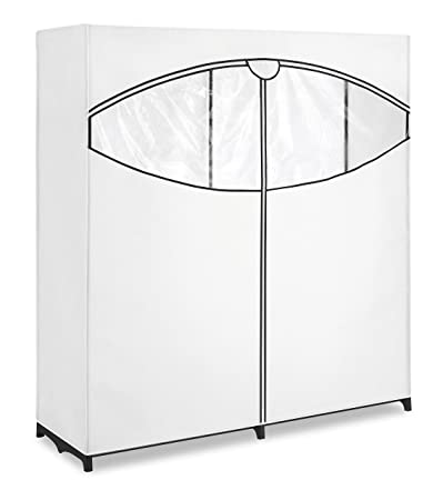 """Whitmor Extra-Wide Clothes Closet 60"""" Black with White Cover"""