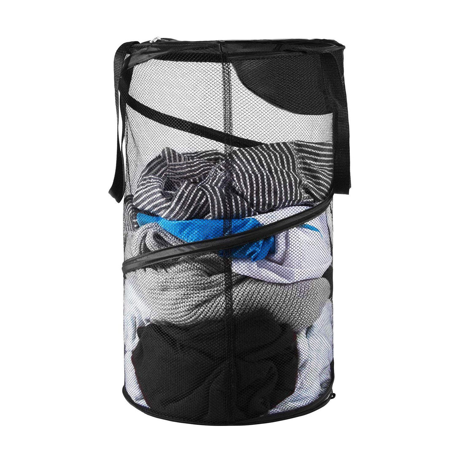 Pop-Up Mesh Hamper,Foldable Laundry Basket Collapsible Clothes basketswith Handles for Dirty Clothes, Baby Kids Toys, Sporting Goods (B)