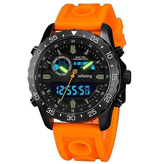 check-out 99428 8f50f Infantry Orologio da polso digitale e analogico, da pilota, con cronografo,  luminoso e sportivo, con cinturino in gomma arancione