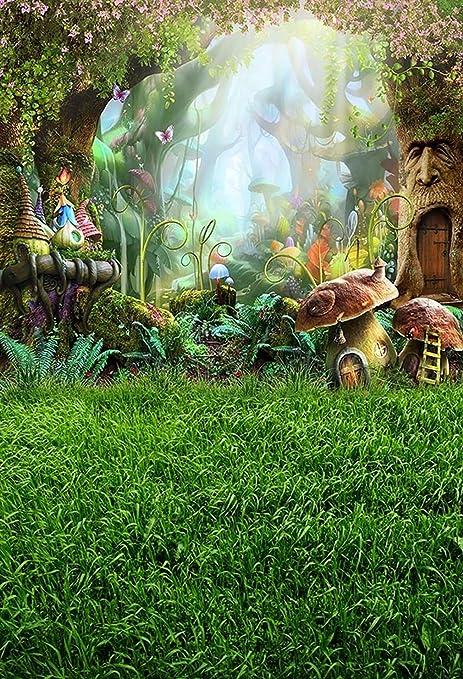 Fondo de jardín de hadas para fotografía, dibujos animados, bosque con árboles, flores, seta de fantasía, escenario fotóbico, fondo 20 x 25 cm: Amazon.es: Electrónica