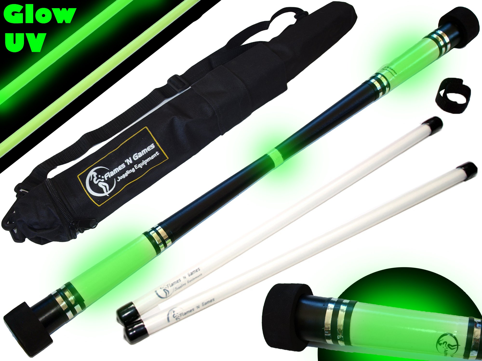 Flames N Games MOONSHINE Glow Devil Stick Set + FIBRE Sticks + Travel Bag!