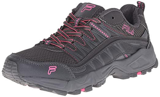 Fila Women's AT Peake Trail Running Shoe, Dark Shadow/Castlerock/Knockout  Pink,