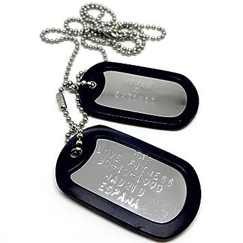 Chapas Militares Personalizadas de Acero Inoxidable. Collar de Chapas Grabadas en Relieve. Colgante Estilo Ejército Americano. Grabado, Cadenas, Gomas ...