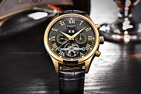 Amazon.com: BINSSAW Men Automatic Mechanical Tourbillon Watch Brand Leather Gold Fashion Casual Stainless Steel Sports Wrist Watches for Male: Watches