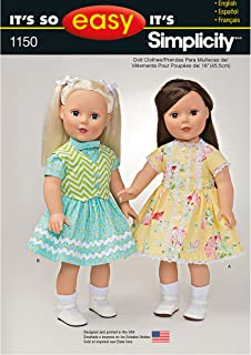 """product image for Simplicity Patterns 1150 It's So Easy 18"""" Doll Clothes, ONE Size"""
