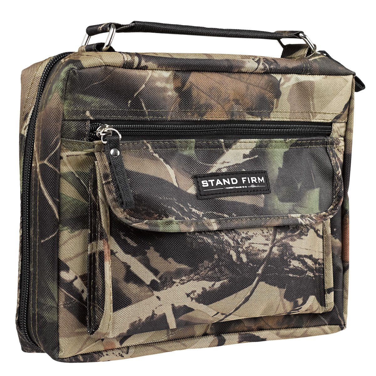 Mossy Oak Camo Poly-Canvas Bible / Book Cover w/''Stand Firm'' Tag - 1 Corinthians 16:13 (Medium)