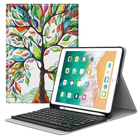 MoKo Funda para iPad 9.7 2018 Teclado, Cubierta con Soporte para Apple Pencil, Protector
