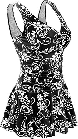 Womens Swimming Costume with Skirt 2 Piece Tummy Control Swimsuit 10 12 14 16 18