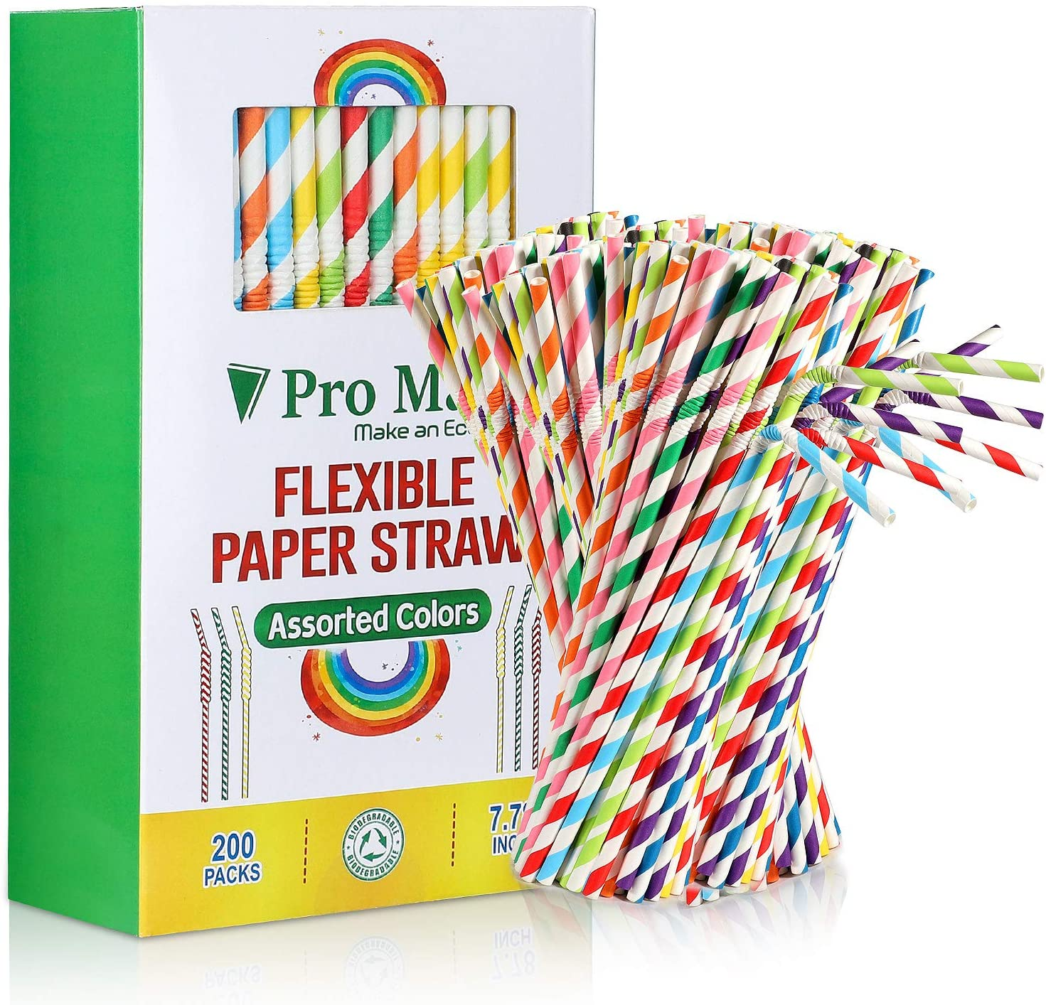 200 Pack Paper Drinking Straws Biodegradable,Flexible Stripe Straws Bulk for Juices, Shakes, Smoothies - Disposable& Eco-Friendly Straw for Birthdays, Weddings & Party (Assorted Colors)