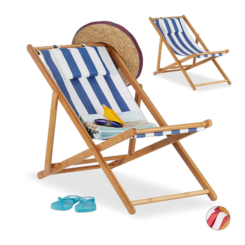 de Relaxdays de 2 Pliante Lot Tissu Chaise Bambou Chaise en OPuikXZ