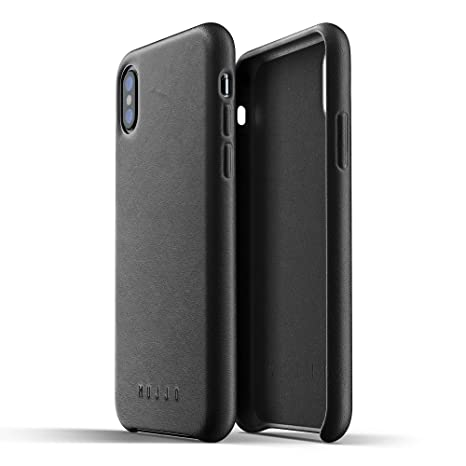 new style 70328 8e378 Mujjo Full Leather Case compatible with iPhone XS, iPhone X | Covered  Buttons, 1MM Protective Screen Bezel, Japanese Suede Lining (Black)