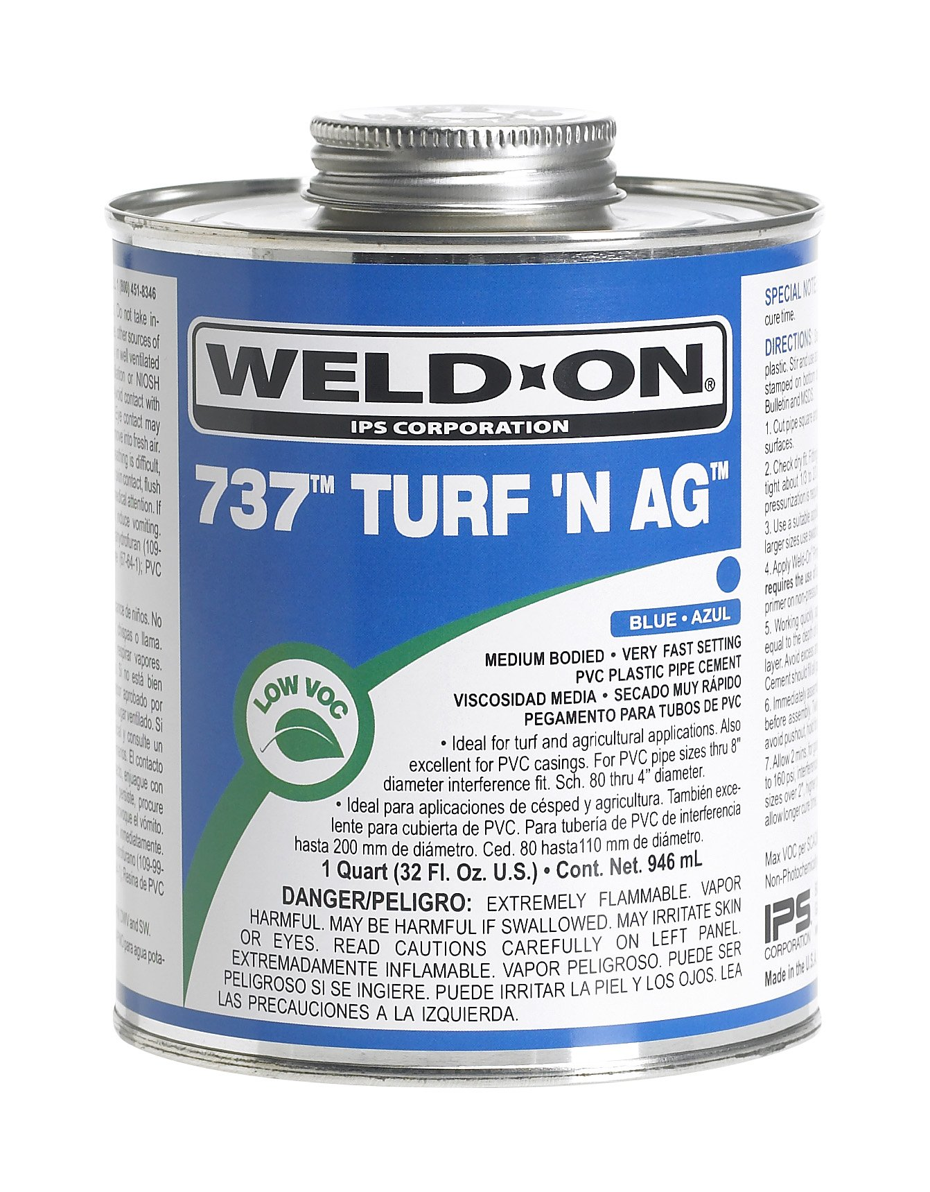 Weld-On 737 10989 Turf 'N Ag, Plumbing-Grade PVC Cement, Medium-Bodied, Very Fast-Setting, 1 quart, Can with Applicator Cap, Blue