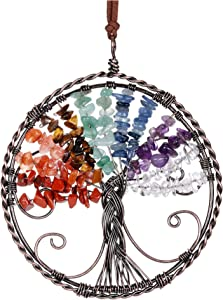 JOVIVI Tree of Life Crystal Hanging Ornaments 7 Chakra Reiki Healing Crystals Tree Ornaments Yoga Room Wall Decor Gemstone Meditation Window Hanger for Home Indoor Decorations Feng Shui Good Luck