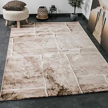 VIMODA Wohnzimmer Teppich In Beige Braun Stein Mauer Optik Klassisch Sehr  Dicht Gewebt Top Qualität,