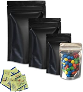 150 pieces Resealable Smell Proof Bags Mylar Bags with Oxygen Absorbers Pack Resealable mylar bags Resealable bags Mylar Ziplock Bags Food Storage Bags nail packaging boxes 4different sizes(Black)