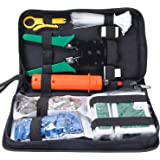 SGILE Pro 9/1 Network Tool Repair Kit, Ethernet LAN Cable Tester Computer Maintenance Coax Crimper Tool for RJ-45/11/12 Cat5/5e with Connector Accessories