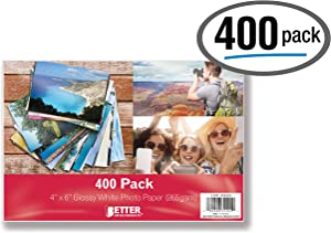 Glossy Photo Paper, 4 x 6 inch, 400 Sheets, by Better Office Products, 265 gsm, 4 x 6, 400-Count Pack