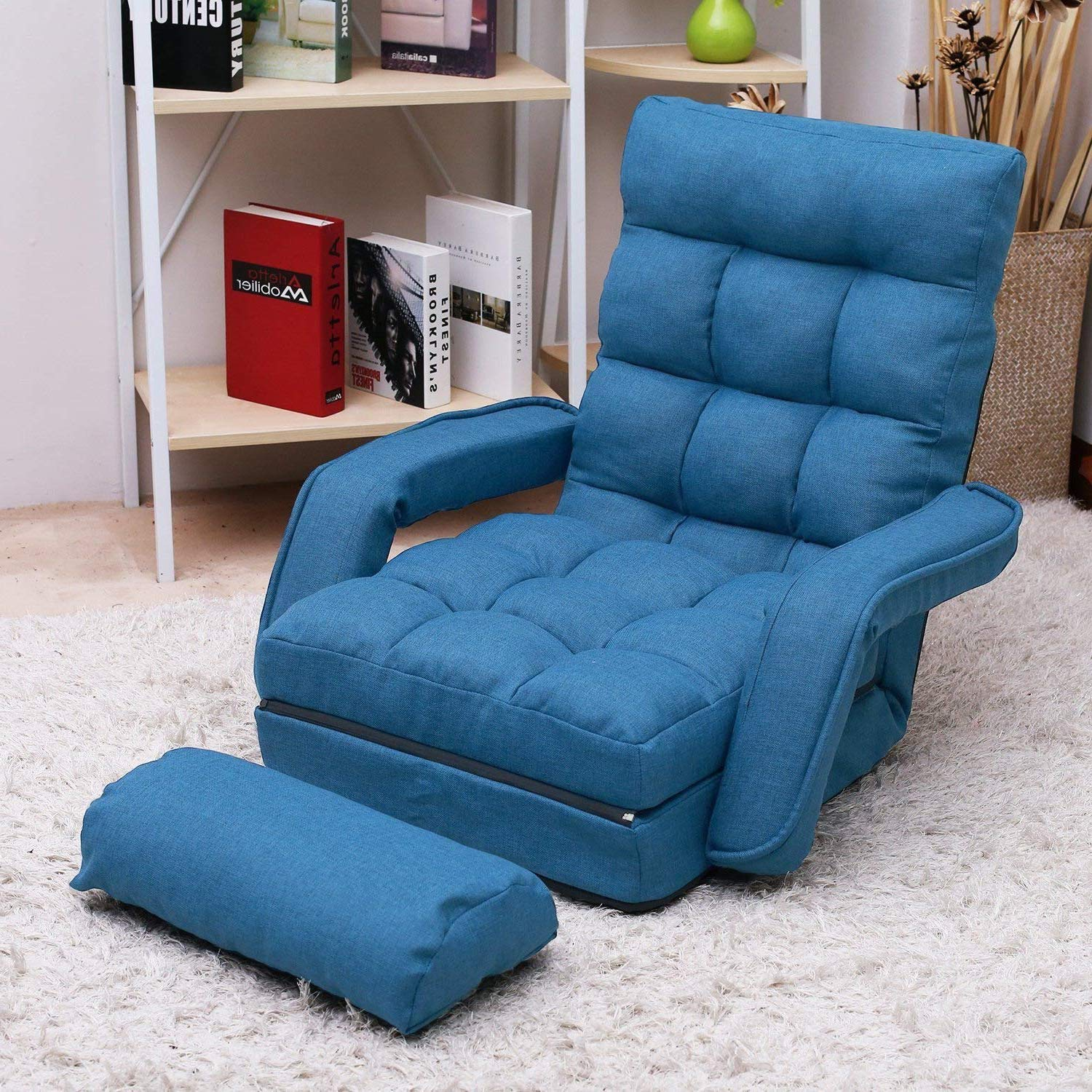 Folding Lazy Sofa Floor Chair, Aprox Sofa Lounger Bed Padded Gaming Chair with Armrests and Pillow for Living Room Games Reading Blue