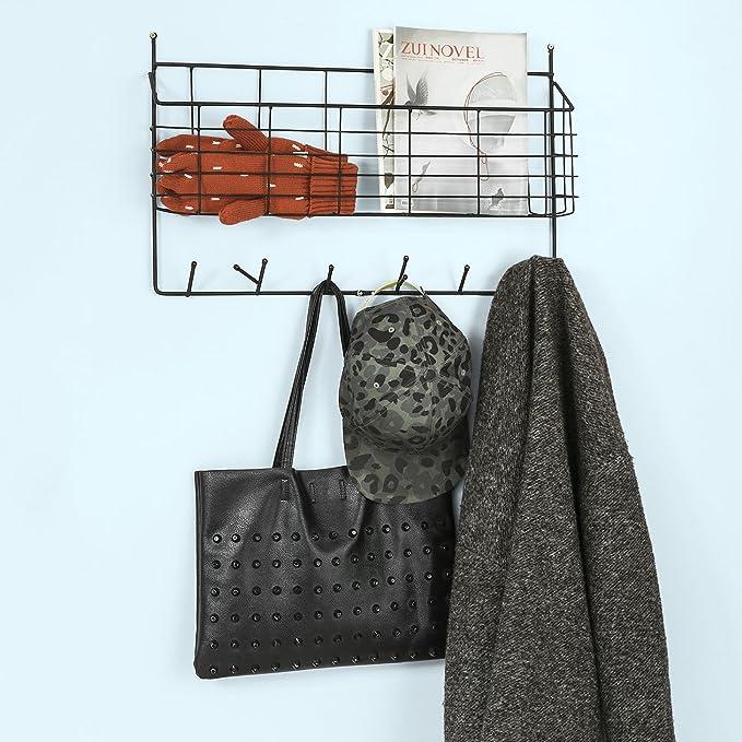 SoBuy® Porte manteaux porte-courrier mural avec panier de rangement FHK09-SCH,FR