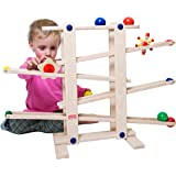 Trihorse Wooden Marble Run, 19 Inches Tall - Sustainable Toys for Toddlers from 1 Year Old - 6 Ball Tracks Made of…