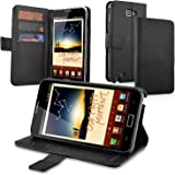 Insten Leather Wallet Case with Card Holder for Samsung Galaxy Note N7000/LTE SGH-i717 - Retail Packaging - Black