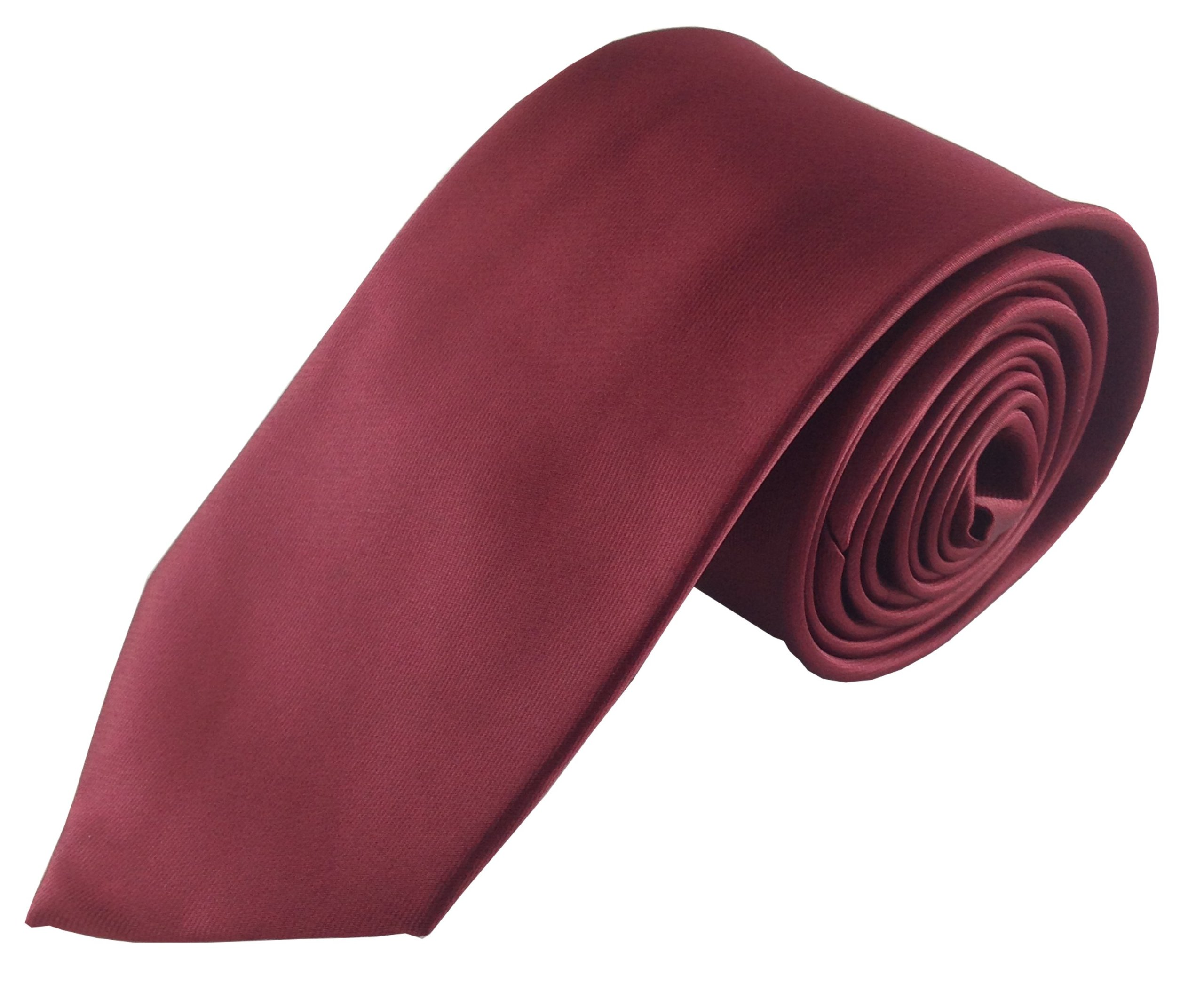 Deluxe Solid Color Wedding Necktie Package for Groomsmen with Matching Pocket Squares (8-Pack, Dark Maroon) by TieCastle
