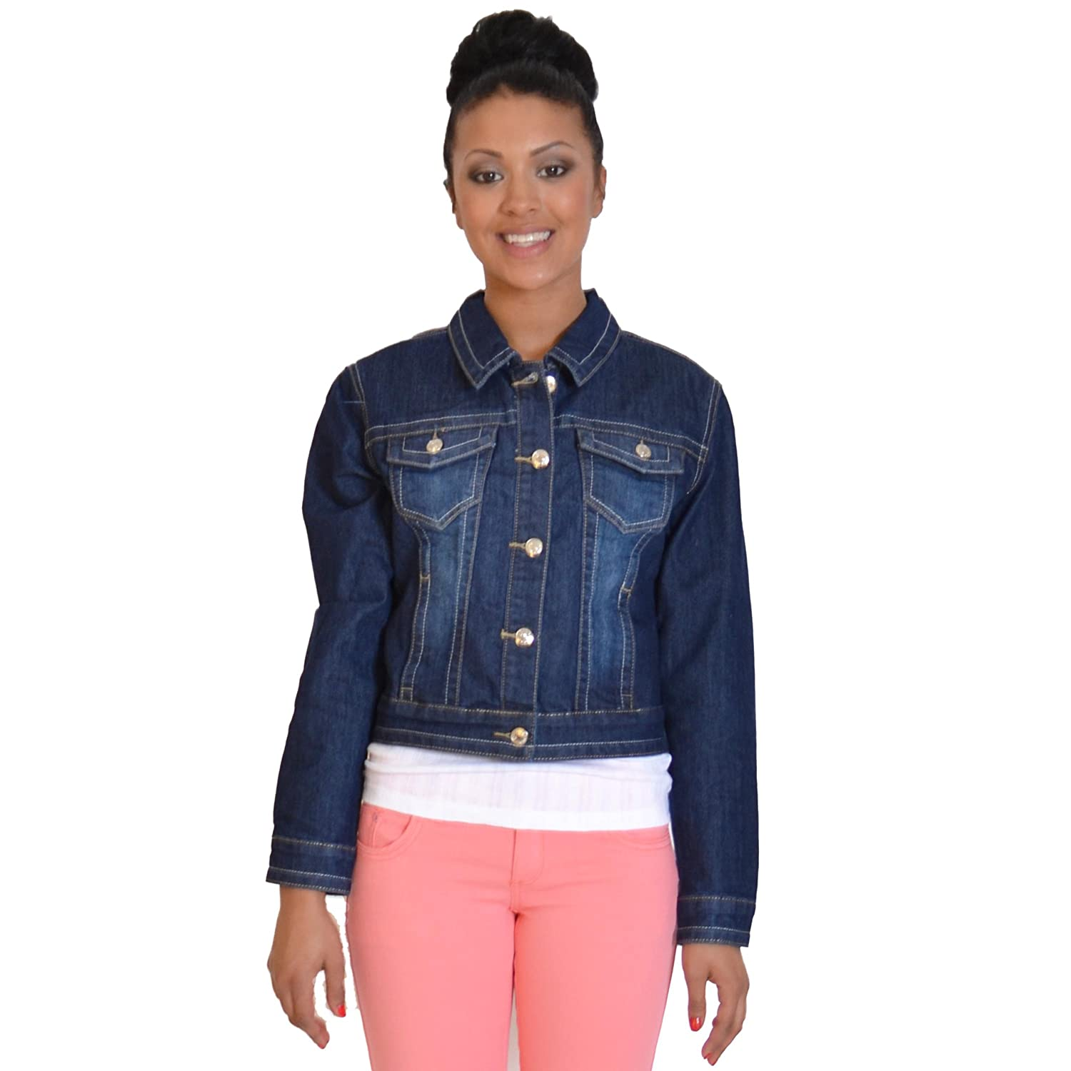 Ladies Womens Dark Blue Stretch Denim Jacket (10): Amazon.co.uk ...