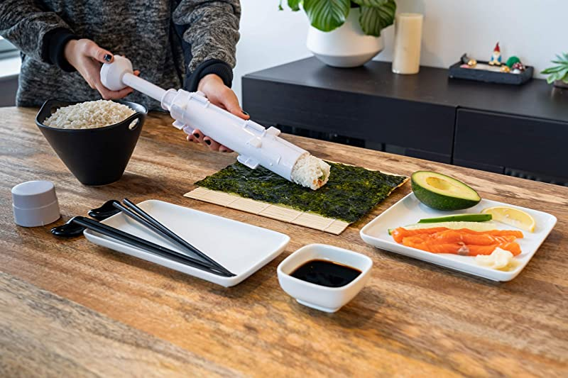 Empire Premium Products Sushi Bazooka Roller and Sushi Mat, All in One Sushi Maker Kit - Kitchen Appliance for Perfect Sushi Roll + Instructional E-Book w/Bonus Sushi Making Recipes