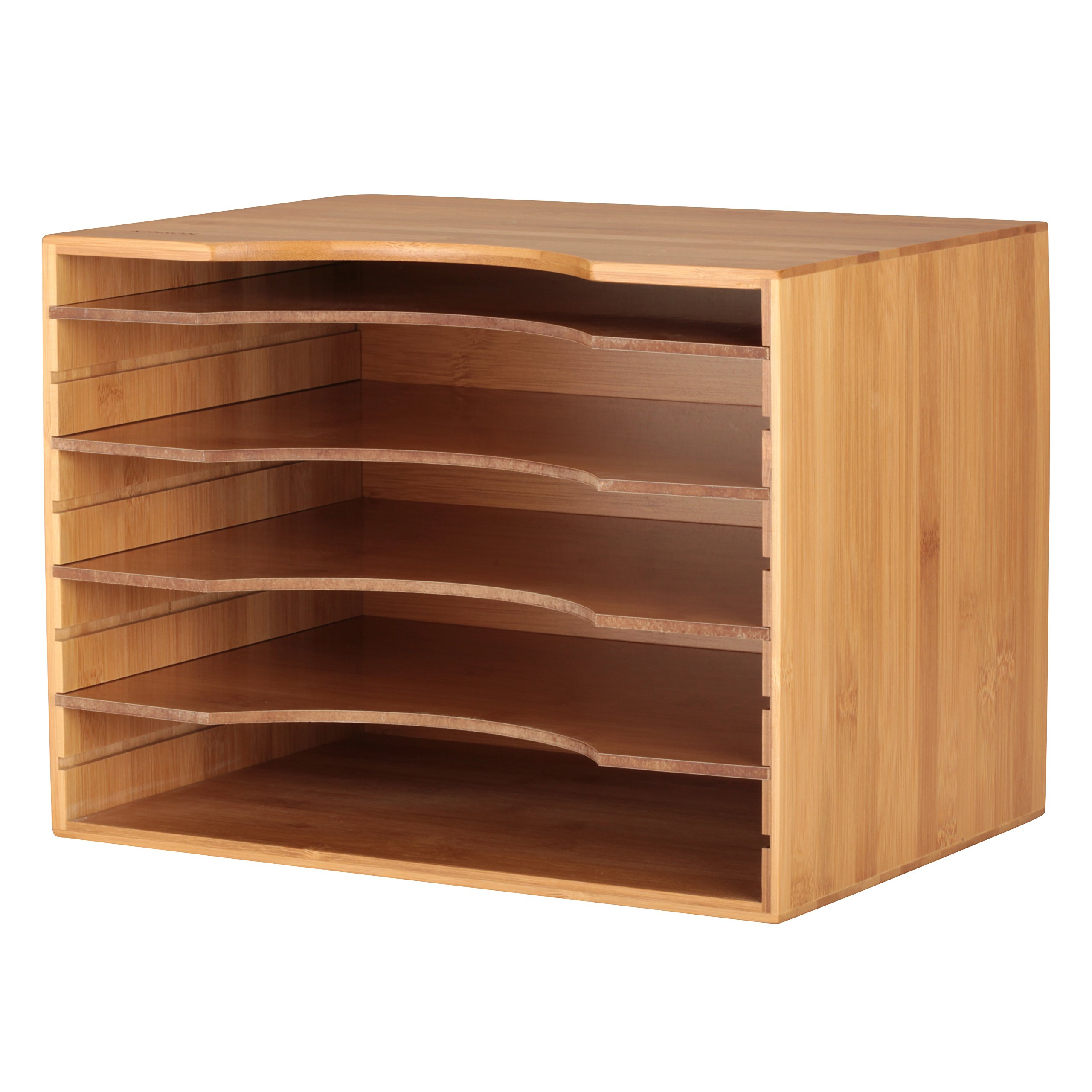 KINSON Bamboo File Organizer with Adjustable Shelves Dividers