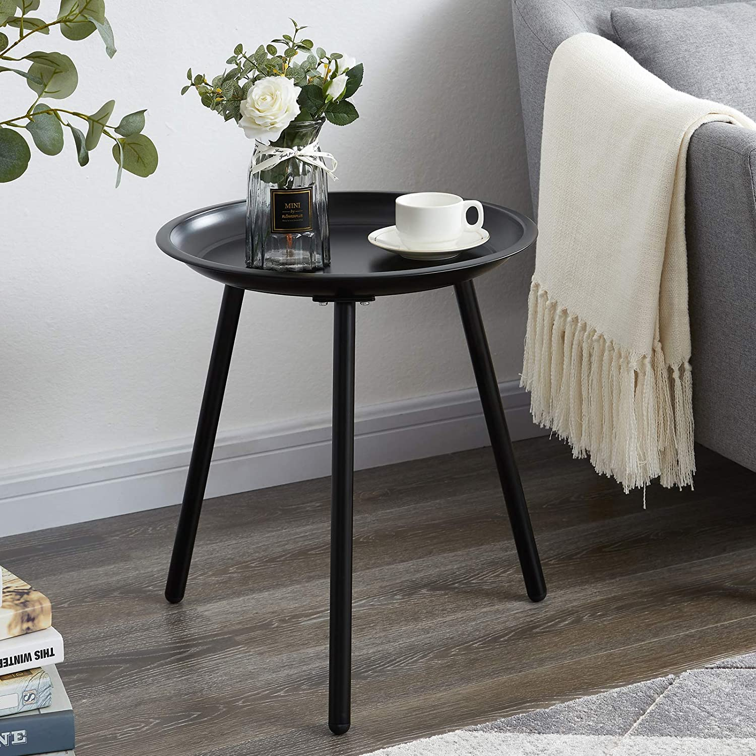 EKNITEY Round End Table, Metal Side Table, Small Coffee Table, Nightstand for Living Room, Bedroom, Office, Easy Assembly (Black)