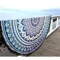 Aakriti Toalla de playa redonda con degradado estilo mandala indio, tapiz hippy, boho, mantel de algodón, mantel para…