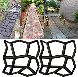 Walk Path Maker, Pathmate Stone Moldings Paving Pavement Concrete Molds Stepping Stone Paver Walk Way for Patio, Lawn & Garden (2 Packs 16.9 x 16.9 x 1.6 inch)