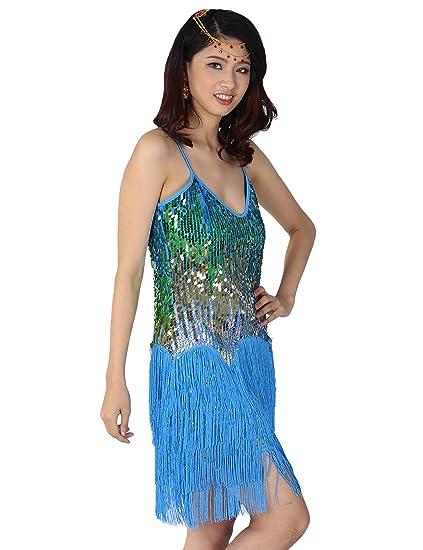 astage Gatsby 1920er Latin Rhythms Salsa Cha Cha Sequin Fringe Dance Costumes, Deporte, color azul celeste, tamaño DE 32-38: Amazon.es: Deportes y aire ...