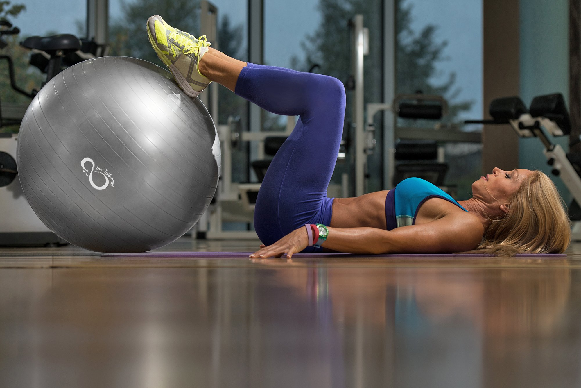 Live Infinitely Exercise Ball (55cm-95cm) Extra Thick Professional Grade Balance & Stability Ball- Anti Burst Tested Supports 2200lbs- Includes Hand Pump & Workout Guide Access Silver 55cm by Live Infinitely (Image #6)