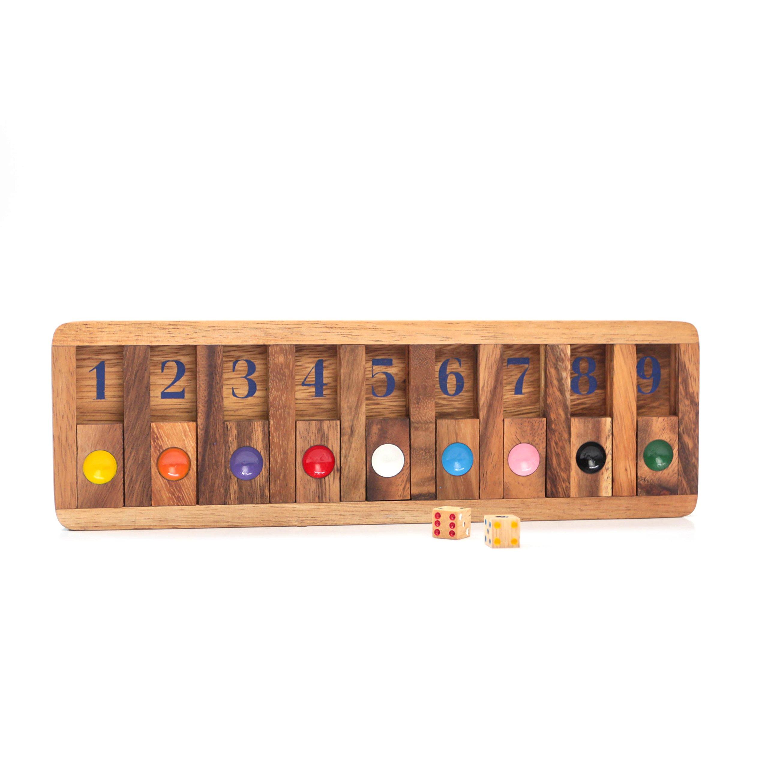 Shut the Box Slide Wooden Brain Teaser Puzzles Games