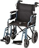 "NOVA Lightweight Transport Chair w/12"" Rear Wheels, Blue"