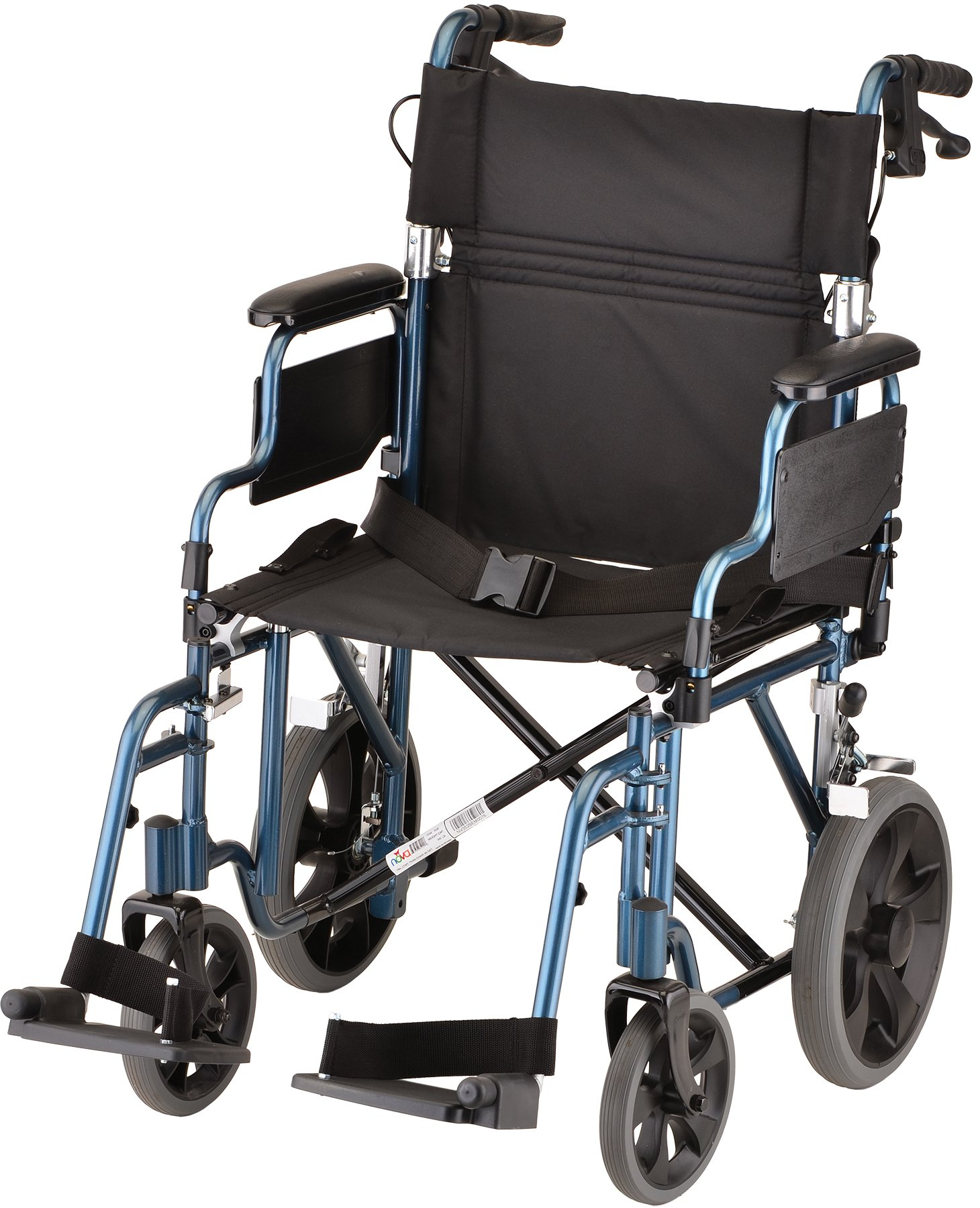 NOVA Lightweight Transport Chair with Locking Hand Brakes, 12'' Rear Wheels, Removable & Flip Up Arms for Easy Transfer, Anti-Tippers Included, Blue by NOVA Medical Products