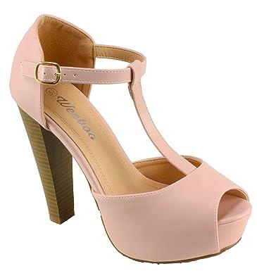 1ddd6022eb03 Weeboo Women s Brina-31 Platform T-Strap Peep-Toe Chuncky High Heels (