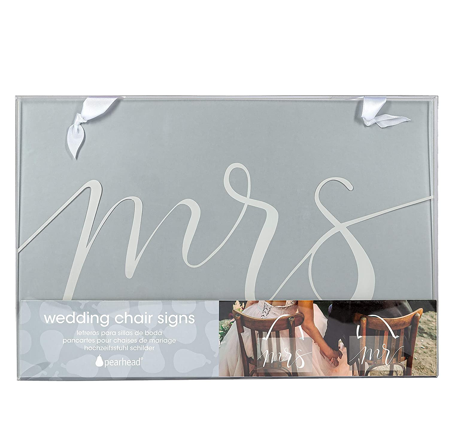Mr. and Mrs. Matching Wedding Chair Hanging Signs, Wedding Reception Décor or Photo Prop, Great Gift for a Bride-to-Be, White on Transparent