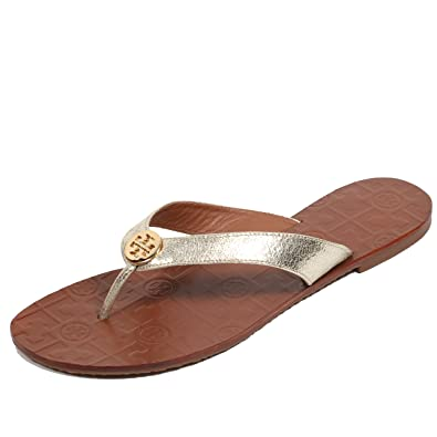 eb90240d7343d3 ... sandals ee658 8a5ed  store tory burch thora leather flip flop shoes tb  logo 9 spark gold 4e197 d690a
