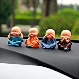 Rajasthani-Fashion 4 Cute Doll Monk Sets for Car Interior Accessories