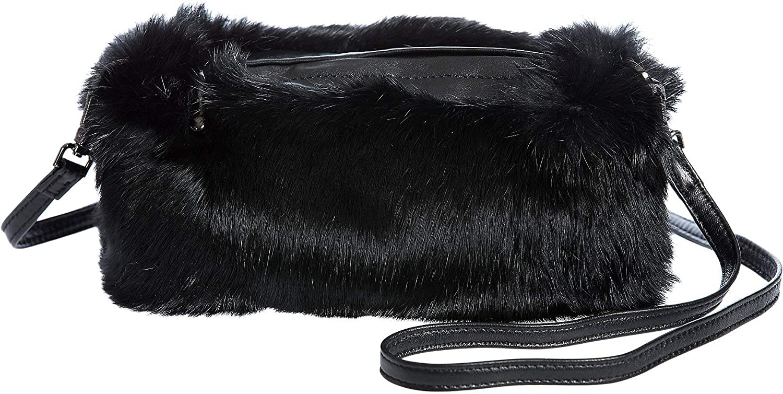 4fd1bcf8a Rabbit Fur Crossbody Muff Clutch