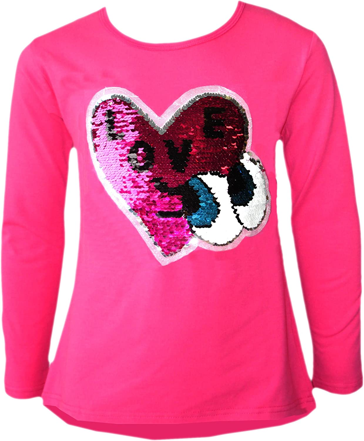 Girls Sequin Tops Brush Changing Tee Heart Star Butterfly Love Pom Pom Ice Cream Cone T-Shirt 3-14 Years