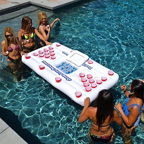 SUMDY Beer Pong Pool Float, Inflatable Beer Pong Table For Pool For  Swimming Pool Party