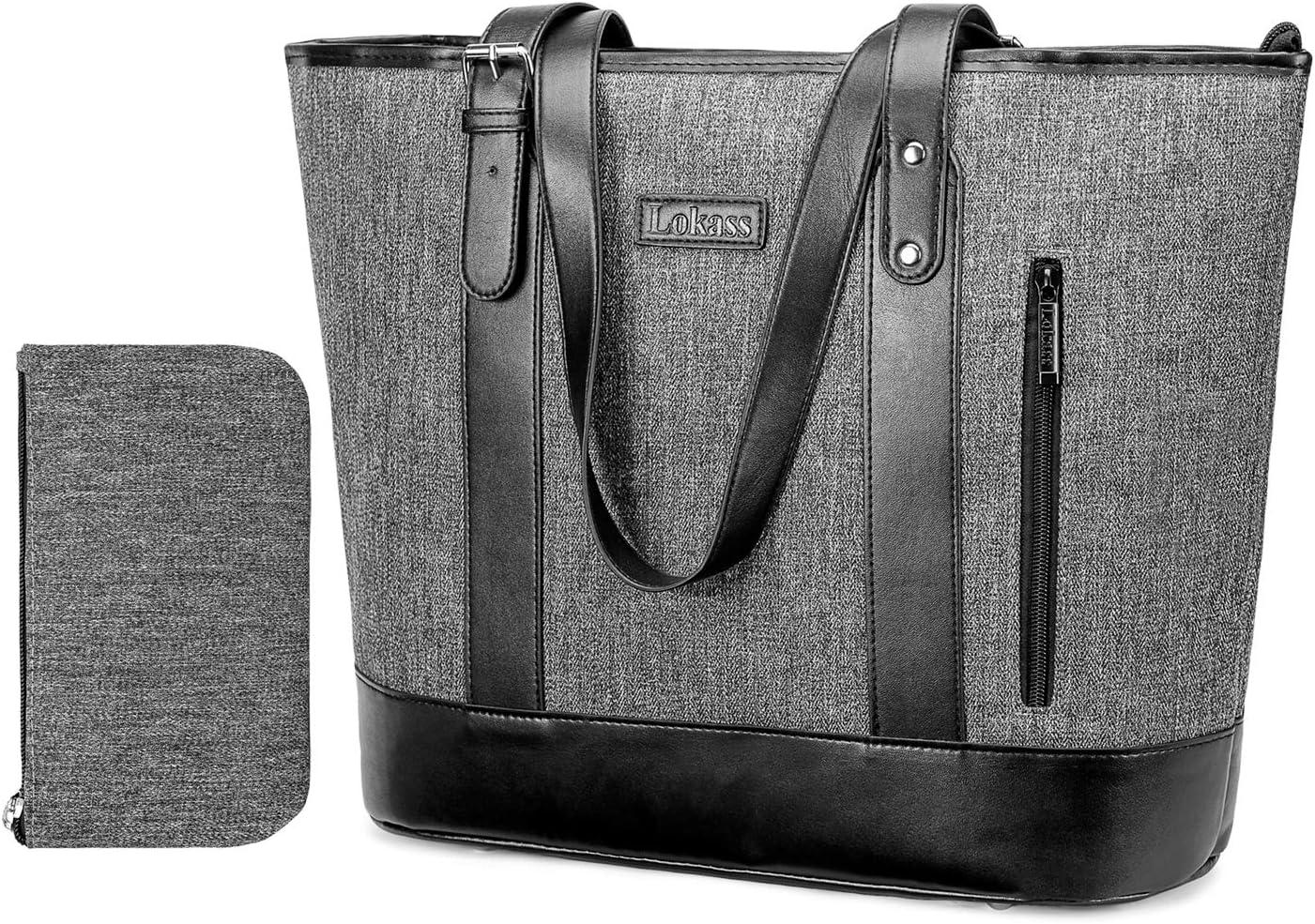 UtoteBag 15.6 Inch Women Laptop Tote Bag Classic Shoulder Bag Compatible Notebook Ultrabook Handle Adjustable Handbag Briefcase for Work Travel Business Office (Grey)