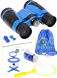 Binoculars Set For Kids - Binoculars With 4 x 30 Magnification and Compass, Butterfly Net, 2 Tweezers, Hand Crank Flashlight, Whistle, Magnifying Glass, Insect Viewer Cup and Carry Bag