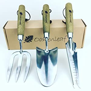Oakenleaf 3 Piece Garden Tool Set Extra Large Stainless Steel with Timber Handle Trowel Fork and Multitool