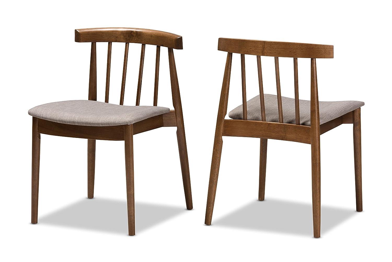 Amazon com baxton studio alfonse mid century modern walnut wood dining chair chairs