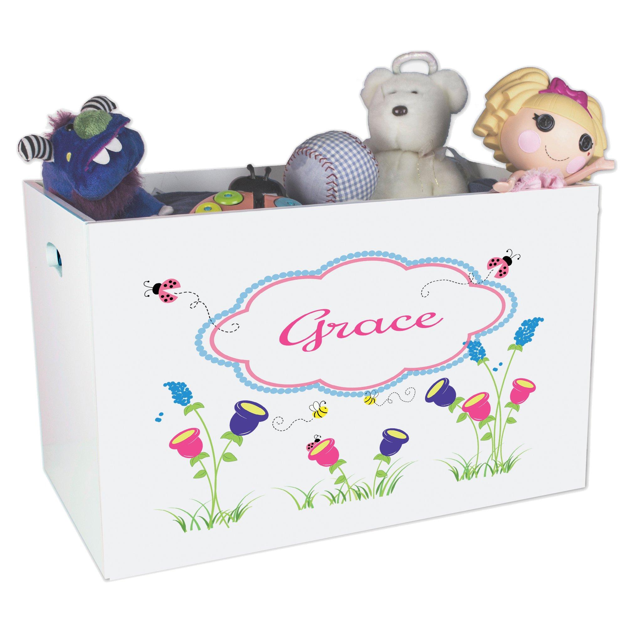 Personalized Garden Childrens Nursery White Open Toy Box